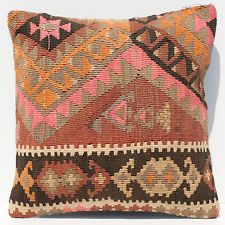 "16"" VINTAGE HANDWOVEN TURKISH KARS KILIM RUG DECORATIVE THROW PILLOW COVER A1556"