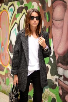 Tweed blazer, white t-shirt, black jeans, casual street style  #minimalist #fashion