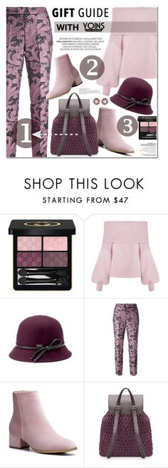 """""""GIFT GUIDE: YOINS"""" by nanawidia ❤ liked on Polyvore featuring Gucci, Betmar, Christian Pellizzari and Miu Miu"""