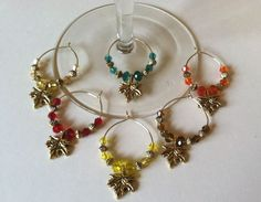 gold tone leaf wine glass charms set of 6 & bottle stoppers save 2.07 free ship #Handmade