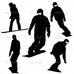 Buy Snowboard Silhouette Set by aarrows on GraphicRiver. Vector Graphics, Vector Free, Snowboarding, Skiing, Peace Pole, 8th Grade Art, Winter Sports, Olympic Games, Vector Design
