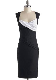 Dynamic Dame Dress in Black and White, #ModCloth