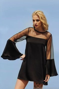 Vestidos de fiesta cortos verano 2015 Agogo. Curvy Fashion, Boho Fashion, Hijab Fashion, Custom Dresses, Vintage Dresses, Casual Dresses, Fashion Dresses, Long Sleeve Tunic Dress, Lil Black Dress