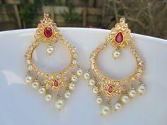 Sale 15% Off  Ruby Chandbalis Pearl Chaandbalis Indian by Alankaar