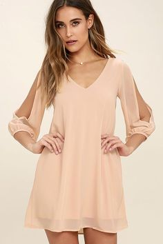 When it's time to shift your gears into glamour mode, the Shifting Dears Blush Pink Long Sleeve Dress is our most dearly beloved dress! Shift dress with cold shoulder cutout sleeves. Next Dresses, Club Dresses, Short Dresses, Dresses With Sleeves, Pink Dresses, Party Dresses, Chiffon Dresses, Pink Outfits, Trendy Outfits