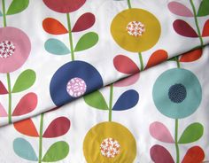 2b3c84276d 100% Cotton Fabric - Scandinavian style Fabric Colorful Flowers - Curtain  Fabric Quilting fabric Fabric meters