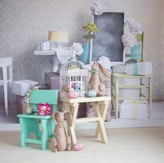 Look Book Set Up @ EPS :: Suitcase Chair Chalkboard Backdrop, Buttercream Boards Floor, Various Spring and Easter Props