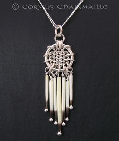American Porcupine Quill pendant by Redcrow at Corvus Chainmaille, via Flickr