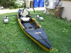 Cool native ultimate kayak w/ outriggers and leaning post for fly fishing.