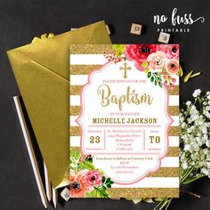 Gold Glitter and Pink Flower Baptism Invitation by NoFussPrintable