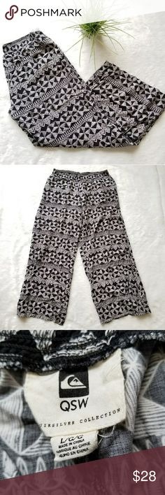 """Quiksilver Palazzo Pants! Super cute black and white tribal print Palazzo pants by Quiksilver Collection. Size Large. Pre-loved and in great condition. Measures 35"""" total length, 26"""" inseam and 29"""" waist. Comes from a smoke-free pet-free home. Fast shipping! NO TRADES! Quiksilver Pants Wide Leg"""