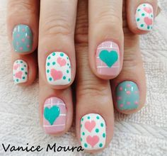 Hearts N dots, pink, teal, and white design - perfect for back to school