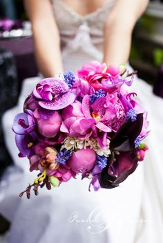 Radiant Orchid Wedding Details: bouquet composed of orchids, roses, ranunculus, peonies. Too pink for us but very pretty. Orchid Bouquet Wedding, Wedding Flowers, Bridal Bouquets, Pink Bouquet, Flower Bouquets, Wedding Trends, Trendy Wedding, Wedding Blog, Wedding Ideas
