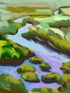 Meandering Marsh Landscape #ipadart #artrage #texas #galveston #evelynmccpetersart