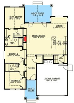 Simple Craftsman Ranch with Options - 23260JD floor plan - Main Level