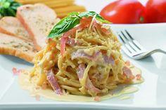 Espagueti con jamón y queso