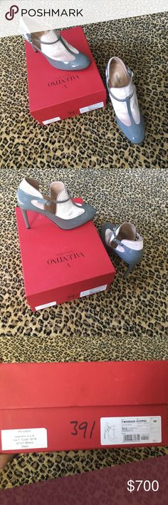 "RARE PAIR OF AUTHENTIC VALENTINO GREY/BLUSH HEELS These beauties are a steal! Unfortunately I hurt my ankle and can't wear heels anymore. :( They retail over $1000 and haven't ever been worn on the outside. They have 4"" heel are a rich grey and nude color combo. Exquisite. Sad to see them go but hoping they go to a someone as excited as I was to own them! Valentino Shoes Heels"