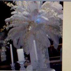 White feather bridal floral arrangement