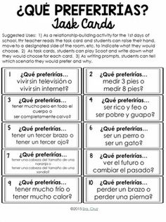 ¿Qué Preferirías? Spanish Ice Breaker Questions Great for getting students comfortable talking in the TL!
