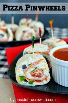 Pizza Pinwheels- tortillas filled with yogurt, cheese, and your favorite pizza toppings.