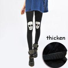 women Skull legging plus velvet thickening winter warm legging fashion pants free shipping $9.99
