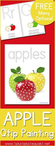 Apple Q tip Painting Printables ~ LOADS of options and FREE!