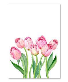 Look at this #zulilyfind! Pink Watercolor Tulips Wall Art #zulilyfinds