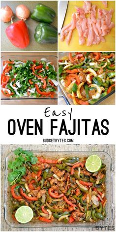 Oven Fajitas Easy Oven Fajitas practically cook themselves with no need to slave over a hot griddle. Easy Oven Fajitas practically cook themselves with no need to slave over a hot griddle. Baked Chicken Fajitas, Oven Baked Fajitas, Steak Fajitas, Oven Fajita Recipe, Easy Chicken Fajita Recipe, Chicken Fajita Casserole, Taco Soup, Clean Eating, Healthy Eating