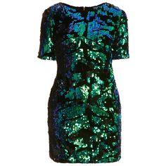 TOPSHOP Petite Sequin Velvet Dress ($70) ❤ liked on Polyvore featuring dresses, robes, green, petite, green cocktail dress, zipper back dress, green velvet cocktail dress, sequin dress and green sequin dress