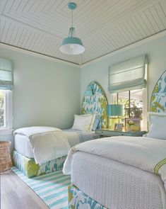 turquoise and white and lime green bedroom