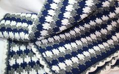 Blue and Grey  Crochet  Blanket by MonaSewingTreasures on Etsy