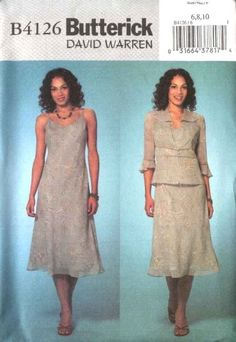 Butterick Sewing Pattern 4126 Misses Size 12-14-16 Unlined Jacket A-Line Slip Lined Dress