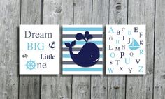 Set of 3 nautical nursery art,Whale wall art, nautical baby boy crib bedding ,navy grey and aqua wall art print, sailboat, alphabet, quote