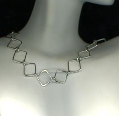 Necklace Sterling, Silver Chain, Link Squares Circles, Silver Necklace, Square Chain, Square Necklace, Geometric Necklace, Necklace Chain  $78.75