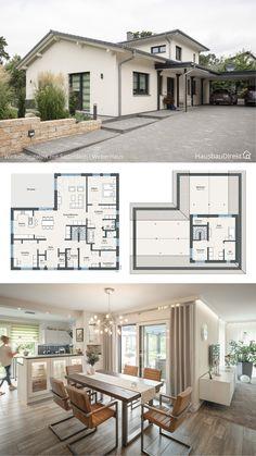 Modern Bungalow House Plans, Bungalow Haus Design, Modern Floor Plans, Bungalow Interiors, Modern Small House Design, Modern Architecture House, Architecture Design, Parametric Architecture, Drawing Architecture