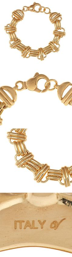 Precious Metal without Stones 164313: Veronese 18K Yellow Clad Sterling Silver 8 Status Link Bracelet $234 Qvc 32G -> BUY IT NOW ONLY: $69.99 on eBay!