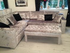 crushed velvet sofa in living room - Google Search