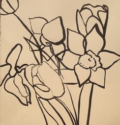 Narcissus from the spring garden, drawn in the studio using ink and brush (2015)