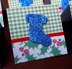 Green Plaid and Blue Christmas Stocking Mini Cards or Gift Tags 2x2 (6) by PeculiarParchment on Etsy