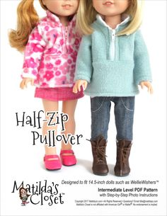 Sew a trendy Half-Zip Pullover for your 14.5-inch WellieWishers™ doll with this downloadable PDF pattern from Matilda Jo Originals!