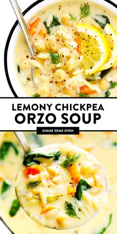 LOVE this Lemony Orzo Chickpea Soup recipe! It's a vegetarian spin on Greek avgolemono soup, brightened up with lots of lemon juice and fresh herbs, and made extra creamy by folding a few eggs into the broth (instead of cream). Tasty Vegetarian Recipes, Easy Soup Recipes, Veggie Recipes, Healthy Recipes, Healthy Soup Vegetarian, Best Healthy Soup Recipe, Healthy Soups, Dinner Healthy, Oven Recipes