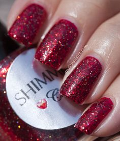Shimmer Polish Cindy over Essie Who's She Red