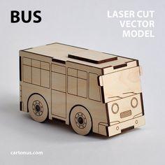 Bus & Garage wooden toys. Vector models for laser cut. by cartonus