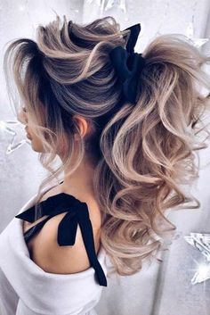 Pretty Curly Ponytail Hairstyles ★ It is time t. - - Pretty Curly Ponytail Hairstyles ★ It is time to start looking through ha. Half Updo Hairstyles, Prom Hairstyles For Long Hair, Wedding Hairstyles, Amazing Hairstyles, Homecoming Hairstyles, Men's Hairstyle, Funky Hairstyles, Party Hairstyles, Formal Hairstyles