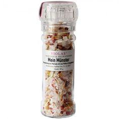 Mein Münster | 80g der leckeren Münsteraner Würzmischung. Zutaten: Meersalz (88%), Paprikagranulat rot, rosa Pfeffer (3%), Zwiebeln, Chili, Ringelblumen (0,5%). Eine Würzmischung für Gerichte mit Geflügel, Fleisch, Fisch und Gemüse. Vegan, gluten- und laktosefrei.