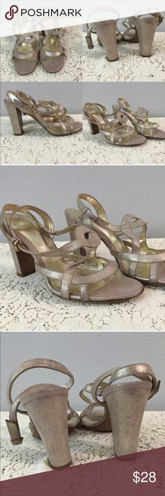 """Sergio Rossi Italian Made Champagne Strap Heels Sergio Rossi Italian Made Champagne Strap Heels. Size Euro 37.5. Size US 7.5. Gorgeous shoes! Perfect for any event. Thank you for looking at my listing. Please feel free to comment with any questions (no trades/modeling).  •Fabric:  Leather  •Heel Height: 3"""" •Condition:  EUC, worn 1 time. No flaws!   25% off all Bundles or 3+ items! Reasonable offers welcome.   BIN: C1 Sergio Rossi Shoes Heels"""