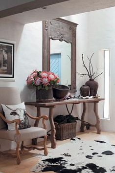 Out of Africa. Console table and Nguni cattle