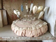 Vintage Pincushion Topped With Bobbin Lace And Vintage Pins ~ Just Love It! ~