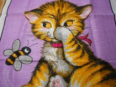 Vintage Dunmoy Irish Linen Cat, Awesome Linen Pattern for Cross Stitch & Needlepoint, 25 Count Printed Patterns, Kitten and Honey Bee by on Etsy Stained Glass Paint, Printed Linen, Wholesale Beads, Coat Of Arms, Cool Cats, Word Art, Needlepoint, Cross Stitch Patterns, Print Patterns