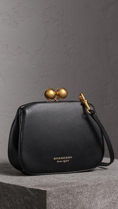 aca376544e14 Small Leather Metal Frame Clutch Bag in Black - Women